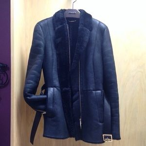 GUCCI Black Shearling Belted Jacket/Coat